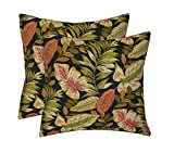 Set of 2 - Indoor / Outdoor Square Decorative Throw / Toss Pillows - Twilight Black, Green, Tan, Burgundy Tropical Palm Leaf - Choose Size (17'')