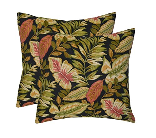 - Set of 2 - Indoor / Outdoor Square Decorative Throw / Toss Pillows - Twilight Black, Green, Tan, Burgundy Tropical Palm Leaf - Choose Size (17