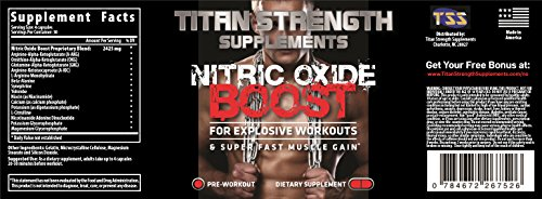 Top Nitric Oxide Booster 120 Capsules. Competition Winning. Muscle Building Nitric Oxide Supplement + L Arginine. Gives Muscle Building Workouts + Increase Workout Endurance. Guaranteed Most Effective Muscle Building with 30 Day 'Happy Customer' GUARANTEE from Titan Strength Supplements. RECOMMENDED & USED BY WINNER Dexter Jackson Classic Memphis TN and Winner Music City Muscle Nashville TN