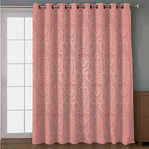 iPrint Blackout Patio Door Curtain,Peach,Lace Style Background with Antique Wedding Inspiration Motifs Ornamental Vintage Design,Coral,for Sliding & Patio Doors, 102