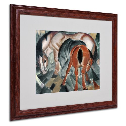 - Horse with Two Foals 1912 Artwork by Franz Marc, Wood Frame, 16 by 20-Inch