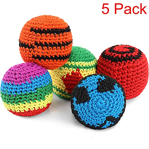Blulu 5 Pieces Funny Hacky Ball Sacks Assoerted Colors Woven Kickball Soft Knitted Kick Balls for Children and Beginners (Best Hacky Sack For Beginners)