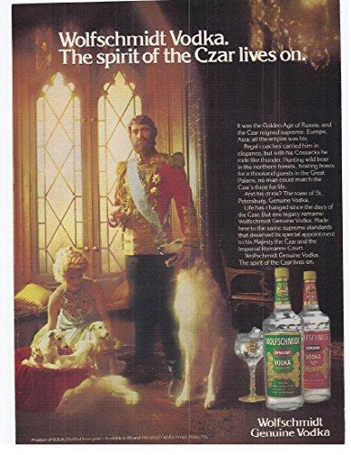- 1982 Vintage Print Advertisement for Wolfschmidt Vodka Lives On