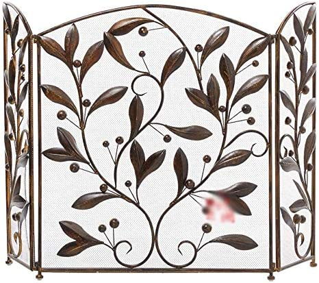 LJFPB 暖炉スクリーン 粉体塗装鉄 ファイアースクリーン ステンレススチールファイングリッド付き 暖炉とストーブ用 スパークフレームガード 自立 3倍のサラウンドスクリーン 127x76cm (Color : Bronze)