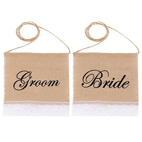 1 Pair Romantic Jute Wedding Party Home Chair Banner Sign Decoration with Groom and Bride Word Wedding Decor Props Supplies