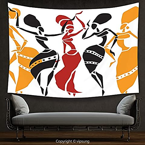 House Decor Tapestry African Decorations Collection African Lady Dancers Body Silhouettes in Motion Pose Exotic Characters Theme Black Yellow Red Wall Hanging for Bedroom Living Room (Marilyn Monroe Bedroom Theme)
