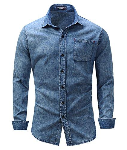 Acid Wash Denim Shirt - Men's Button Down Slim Long Sleeve Denim Dress Shirt In Mid Wash Blue XL