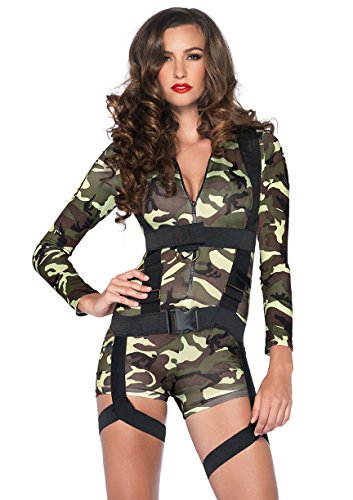 Leg Avenue Women's 2 Piece Goin' Commando Military Costume, Camo, Small - Women's Army Halloween Costumes