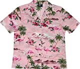 RJC Womens Pink Flamingo Hibiscus Camp Shirt in Pink - XL