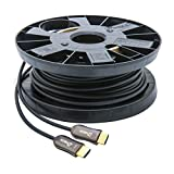 DTECH Ultra Slim Extra Long Fiber Optic HDMI 2.0 Cable 50 Feet Supports 4K at 60Hz 18Gbps High Speed
