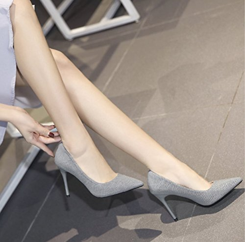 Shoes Sharp 35 Heel Bridesmaid Shallow MDRW Elegant Work Gray Light Shoes Wedding Heels Single Spring Thin Lady Leisure 10Cm qxRCZ