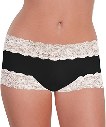 Knock out! Women's Lacy Boy Short Xlarge Black/White (White Lacy Panties)