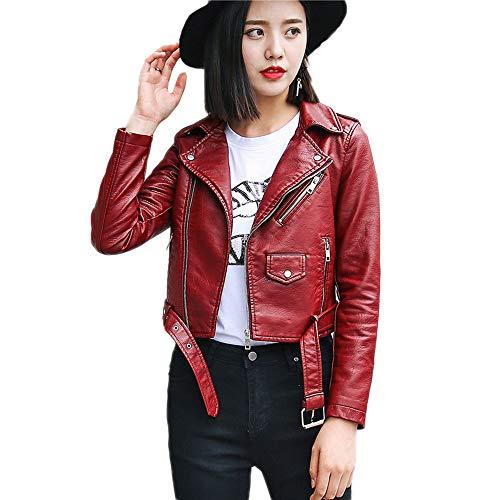 Faux Motorcycle Cremallera Mujer Chaqueta Con Invierno De Red Otoño Abrigo Biker Ropa Leather xqIUnCawIH