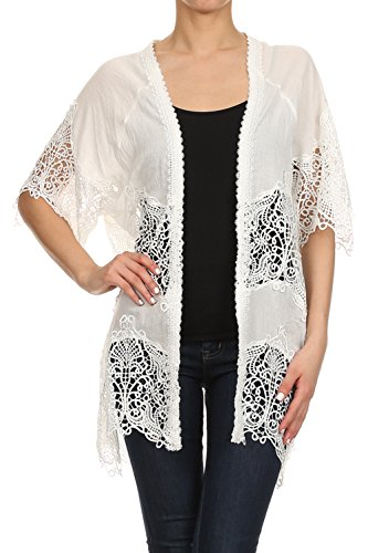Vialumi Women's Juniors Short Sleeve Lace Inset Cover Up Cardigan White (Crochet Embroidered Sweater)