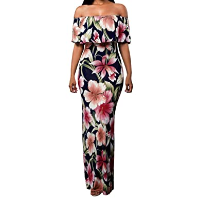 d56f22688b Amazon.com: COOKI Women Dresses Summer Floral Off Shoulder Ruffle Party Maxi  Dress Sexy Bodycon Evening Long Dress Sundress: Clothing