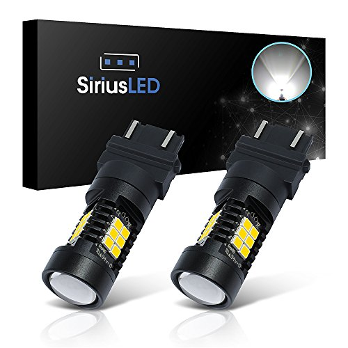 SiriusLED Extremely Bright 35W 2835 Chipset 21 SMD LED Bulbs with Projector for Car Turn Signals Daytime Running DRL Brake Tail Lights Dual Brightness 3157 3157A 3155 3457 4157 Pure White -