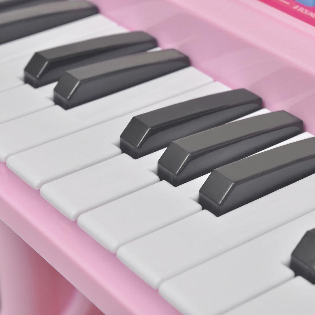 vidaXL Piano de Juguete para Niños de 37 Teclas con Taburete y Micrófono Rosa: Amazon.es: Juguetes y juegos