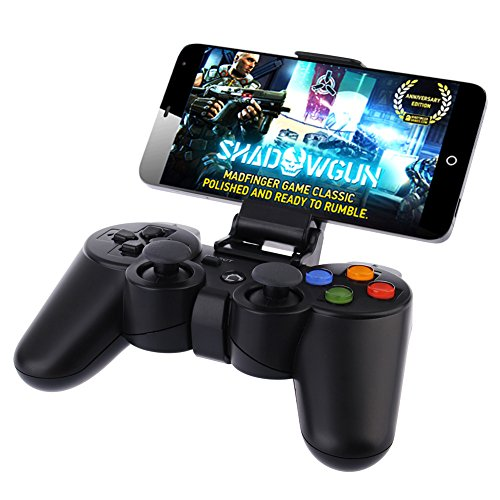 Price comparison product image Yonyko Wireless Bluetooth Game Controller for Computer PC Game Hardware Joystick Laptop Console Joypad Rechargeable Android Devices Gamepad with Clip for Android Phone Tablet Pad Smart TV BOX Samsung