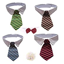 Small Pet Dog Cat Striped Bow Tie Dog Collar Wedding Party Costume Apparel Accessories ,5 Pack