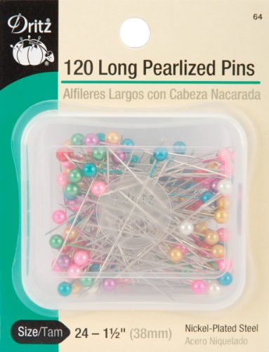 - Dritz 64 Pearlized Pins, Long, 1-1/2-Inch (120-Count)
