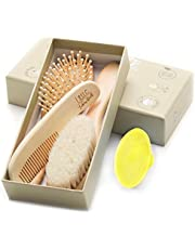 Wooden Baby Hair Brush and Comb Set (4-Piece) for Newborns and Toddlers | Ideal for Baby Cradle Cap | Wood Bristles Baby Brush | Baby Massage and Scalp Brush | Perfect for Baby Registry Gift Set