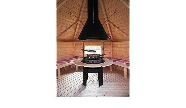 JUNIT Viking Barbacoa Redonda para Todos los Barbacoa Kota Barbacoa de carbón Barbacoa BBQ Madera Grill: Amazon.es: Jardín