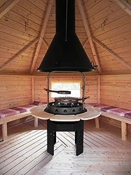 JUNIT Viking Barbacoa Redonda para Todos los Barbacoa Kota Barbacoa de carbón Barbacoa BBQ Madera Grill