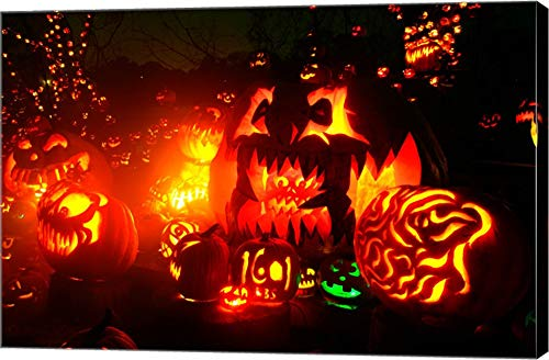 Jack o' Lanterns lit at Roger Williams Park Zoo, Rhode Island, USA Canvas Art Wall Picture, Gallery Wrap, 18 x 12 inches -
