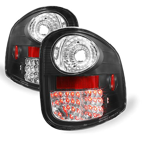 [Philips Lumiled LED] For 01-03 Ford F-150/04 F150 Heritage Pickup Truck Flareside Model Black Tail Lights Lamp Pair