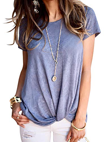Beautife Womens Short Sleeve Tops Casual Crew Neck Loose Fit Cotton Tie Front Knot T Shirts Blue ()