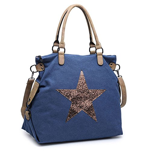 Blu Fodera Stile Bag Hb Donna L Tote Multicolor Scuro Pelle 85qwWw76