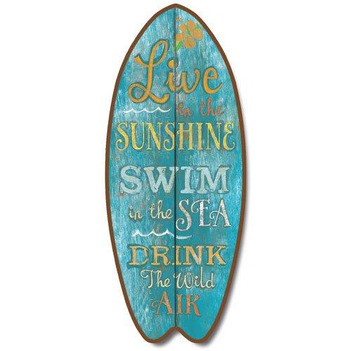 New Lrg Turquoise Surfboard Plaque Live Sun Swim Sea Sign Coastal Decor Wall Art