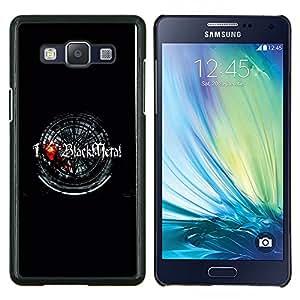 KLONGSHOP // Cubierta de piel con cierre a presión Shell trasero duro de goma Protección Caso - Amo Negro metal - Samsung Galaxy A5 A5000 //