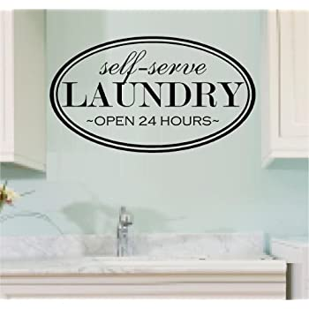WALL DECAL VINYL LETTERING SELF SERVE LAUNDRY OPEN 24 HOURS LAUNDRY ROOM Part 89