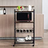 Microwave Stand Storage on Wheels, Rolling Kitchen