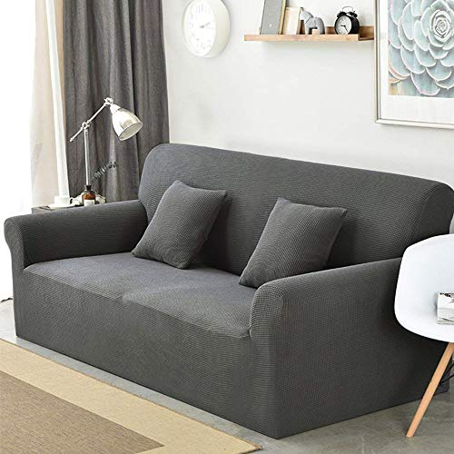 sancua Stretch Spandex Sofa Cover 3 Seat Couch Cover Anti-Slip Sofa Slipcover with Elastic Bottom for Living Room Furniture Protector Couch Slipcover for Dogs, Cats and Pets (Sofa, Dark Grey)