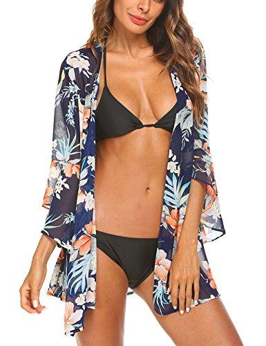 Finejo Women's Sheer Chiffon Boho Kimono Cardigan Beach Floral Print Swimsuit Cover Up Loose Swimwear Tops Blouse (Sheer Chiffon)