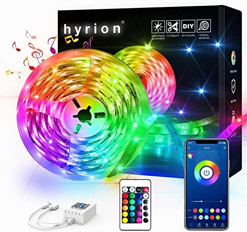32.8ft hyrion Smart Led Strip Lights, 1 Roll of 32.8ft RGB Color Changing Light Strips with Bluetooth Controller and 24 Keys Remote Sync to Music for Bedroom, Party