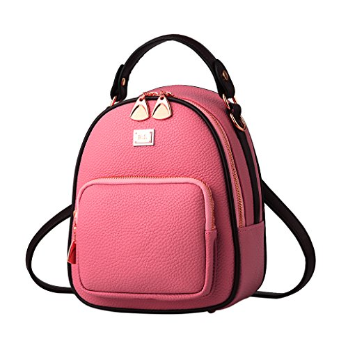 Bag Cute Girls School Travel Book Backpack PU Earthy Small Purple Mini Lamdoo Yellow Leather Daypack Women FEw58qnxBv