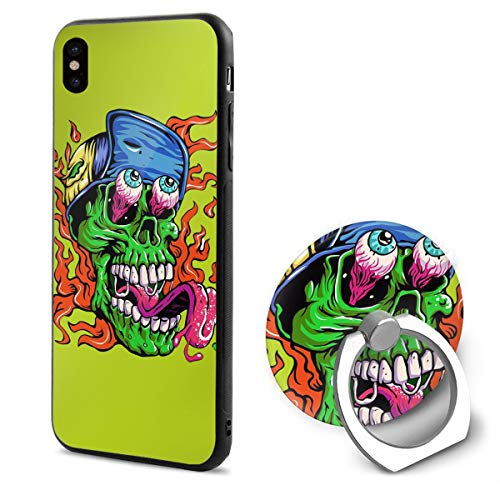 Barton Apple iPhone Xs Case(2018) / iPhone X Case(2017) + Finger Ring Stand Holder 360 Degree Rotating Combo Set - Halloween Skull -
