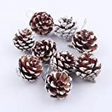 Coohole 9Pcs Christmas Pine Cones Bauble Xmas Tree Hanging Decor Party Hanging Decoration Ornament (A)