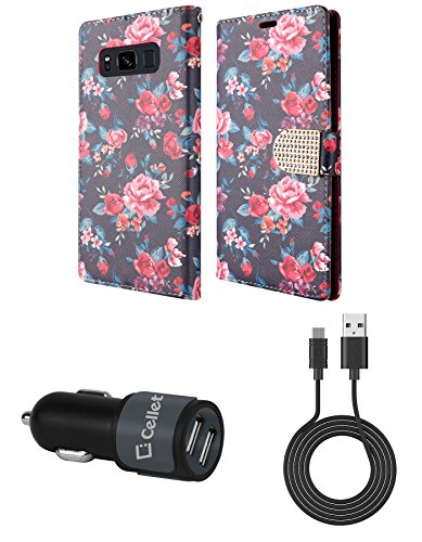Samsung Galaxy S8 Active - Bundle: PU Leather Wallet Carrying [Card Slots] Holder Case - (Pink & Red Roses), [10 Watt / 2.1 Amp] High Power Dual Car Charger, USB Type-C Cable, Atom Cloth
