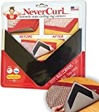 NeverCurl® - Instantly Stops Rug Corner Curling. Safe for wood floors. For Indoor AND Outdoor Rugs. Includes 4 pcs. **not an anti-slip pad** Made in USA.
