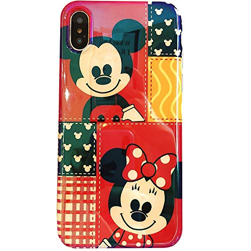 Ultra Slim Soft TPU Red Mickey Minnie Mouse Case for iPhone Xs Max 6.5 Shockproof Bling Glitter Shiny Smooth Disney Cartoon Plaid Check Heart Classic Cute Lovely Stylish Cool Girls Women Teens