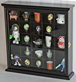 Black Finish Wall Curio Cabinet Shadow Box With Glass Door Wall Mount Solid Wood