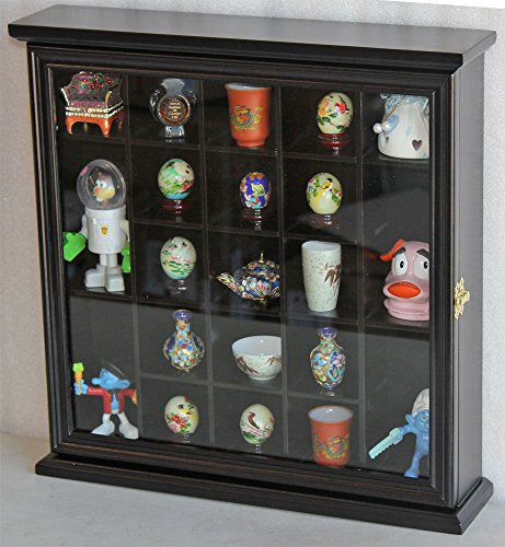 Black Finish Wall Curio Cabinet Shadow Box With Glass Door Wall Mount Solid Wood by Display Case