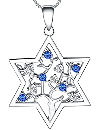 Star Of David Necklace For Women Sterling Silver with...