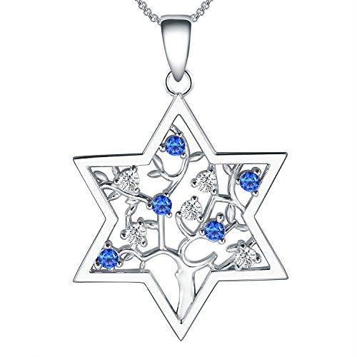 925 Sterling Silver Star Hexagram Tree Of Life Magen David 6 Point Shield Necklace