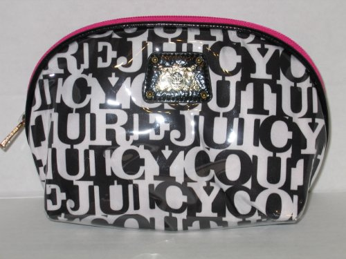 Juicy Couture Zippered Makeup Cosmetic Bag White and Black Words Pink Large Size (Juicy Couture Makeup Bags)
