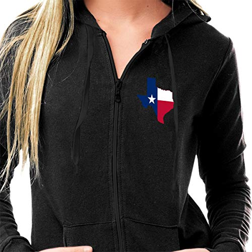 (Women's Slim Fit Lightweight Long Sleeve Gym Hoodies, Casual Full-Zip Pullover Tops Texas State Flag Active Sweatshirts with Pockets )